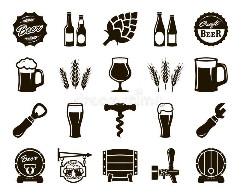 Bier, het brouwen, ingrediënten, de cultuur van de consument Reeks zwarte pictogrammen royalty-vrije illustratie