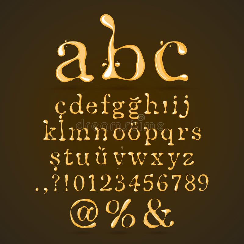 Bier-, Honig-und Karamell-Alphabet-Kleinschreibung lizenzfreie abbildung