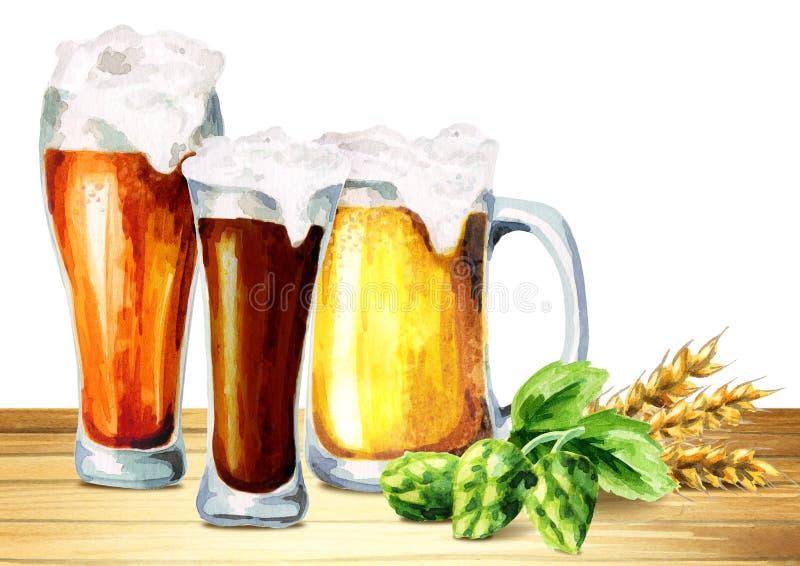 Bier, Hopfen, Malzsatz watercolor lizenzfreie abbildung