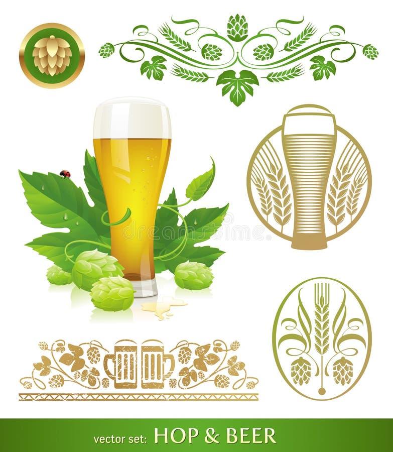 Bier, Hopfen und Brauen vektor abbildung