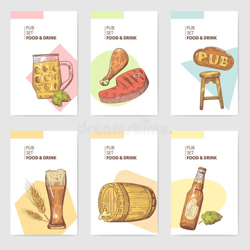 Bier-Kneipen-Broschüren-Schablone Hand gezeichnetes Restaurant-Menü mit Lebensmittel und Getränk Skizzen-Bier-Plakat, Fahne, Bele lizenzfreie abbildung