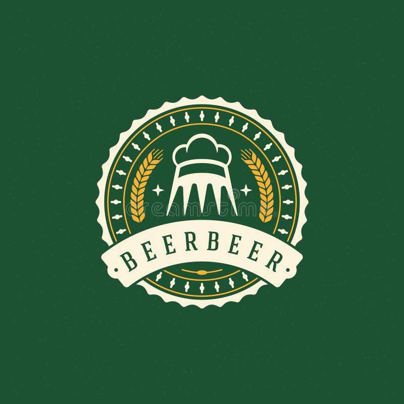 Bier Logo Design Element in der Weinlese-Art stock abbildung