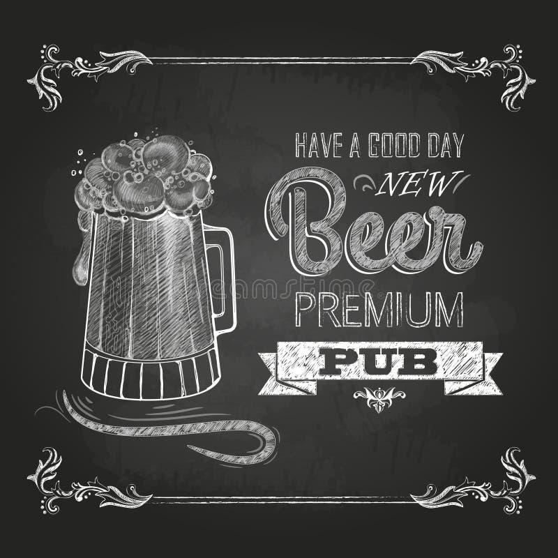 Bier in mag Krijttekening stock illustratie