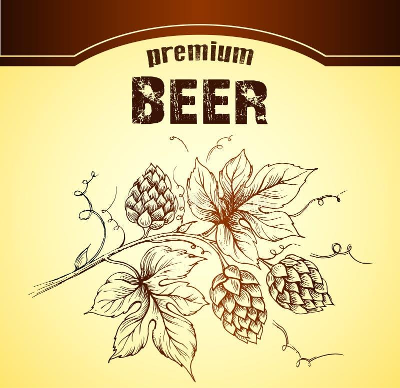 Bier met hop royalty-vrije illustratie