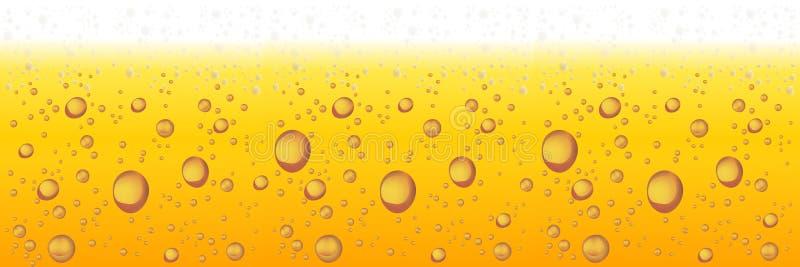 Bier met schuim en bellen Vector horizontale achtergrond stock illustratie