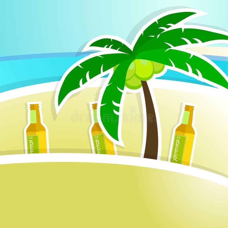 Bier met schuim op barteller Tropische toevlucht stock illustratie