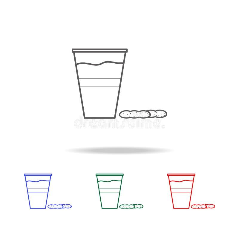 bier in plastic glas en notenpictogram Elementen van pictogrammen van de snel voedsel de multi rassenbarrière Grafisch het ontwer stock illustratie