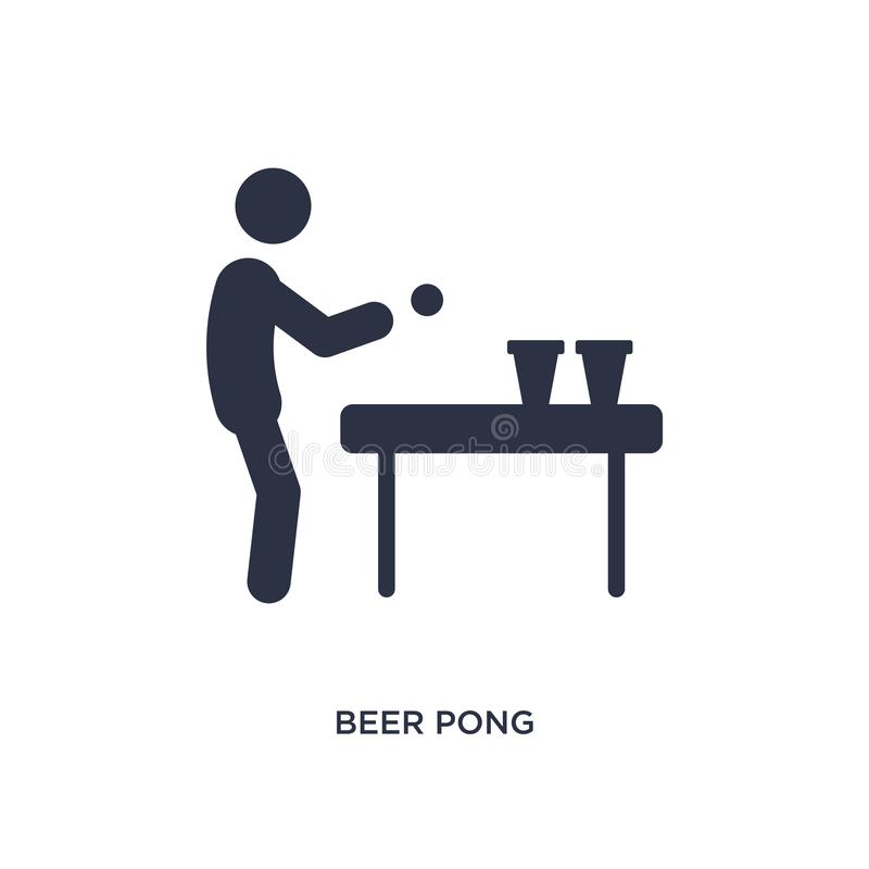 bier pong pictogram op witte achtergrond Eenvoudige elementenillustratie van activiteitenconcept royalty-vrije illustratie