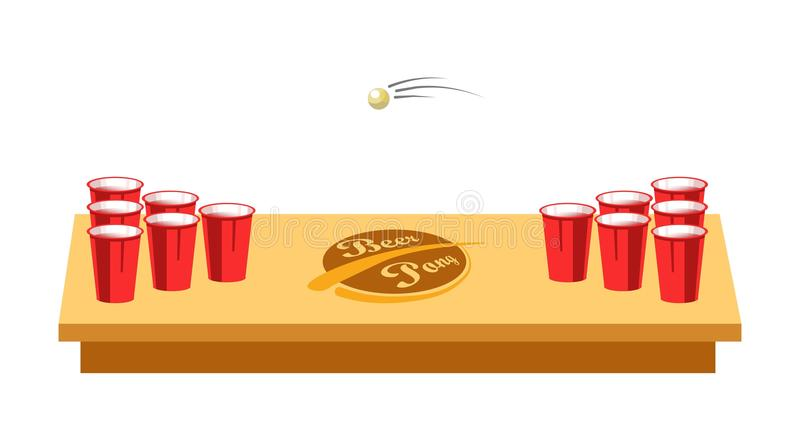 Bier pong spel voor partij op houten lijst royalty-vrije illustratie