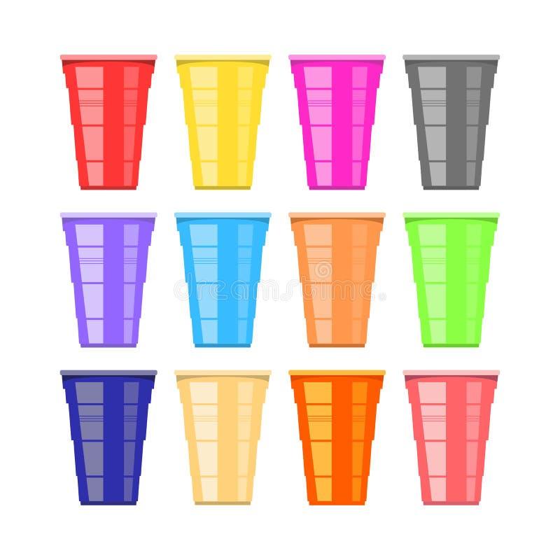 Bier pong toernooien Kleurrijke Plastic Koppen Pretspel voor Partij Traditionele het Drinken Tijd vector illustratie