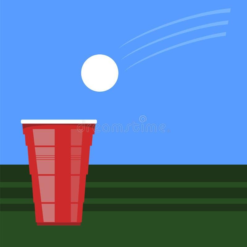 Bier pong toernooien Rode Plastic Kop en Witte Tennisbal op Groene Lijst Pretspel voor Partij royalty-vrije illustratie