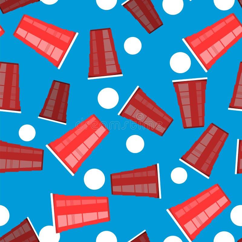 Bier pong toernooien Rode Plastic Kop en Witte Tennisbal Pretspel voor Partij Traditionele het Drinken Tijd vector illustratie