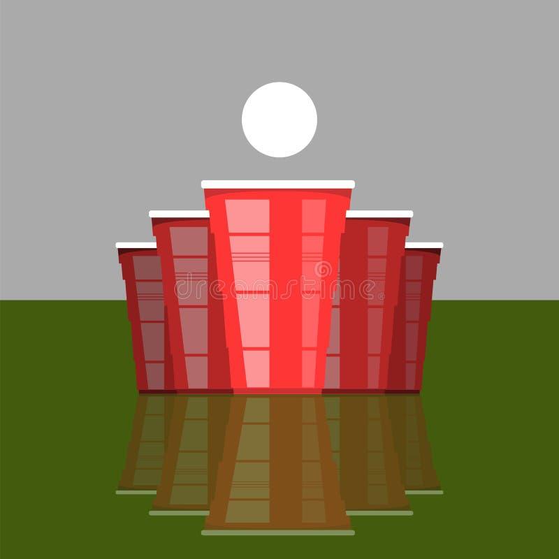 Bier pong Turnier Rote Cups und weißer Tennisball Spaßspiel für Partei Traditionelle trinkende Zeit lizenzfreie abbildung