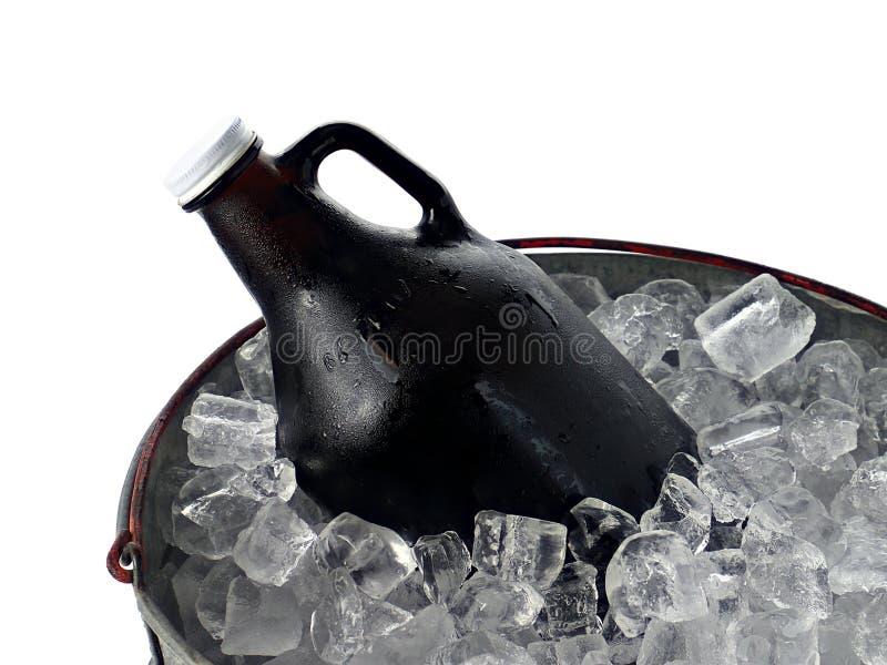 Bier-Prüfspule im Eis-Eimer lizenzfreie stockfotos