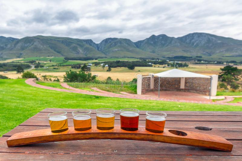 Bier proevende glazen op een houten dienblad buiten de brouwerij royalty-vrije stock foto