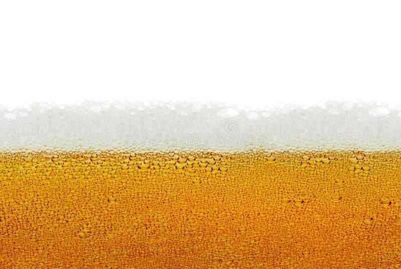 Bier, Schaum, Blasen lokalisiert auf weißem Hintergrund lizenzfreies stockbild