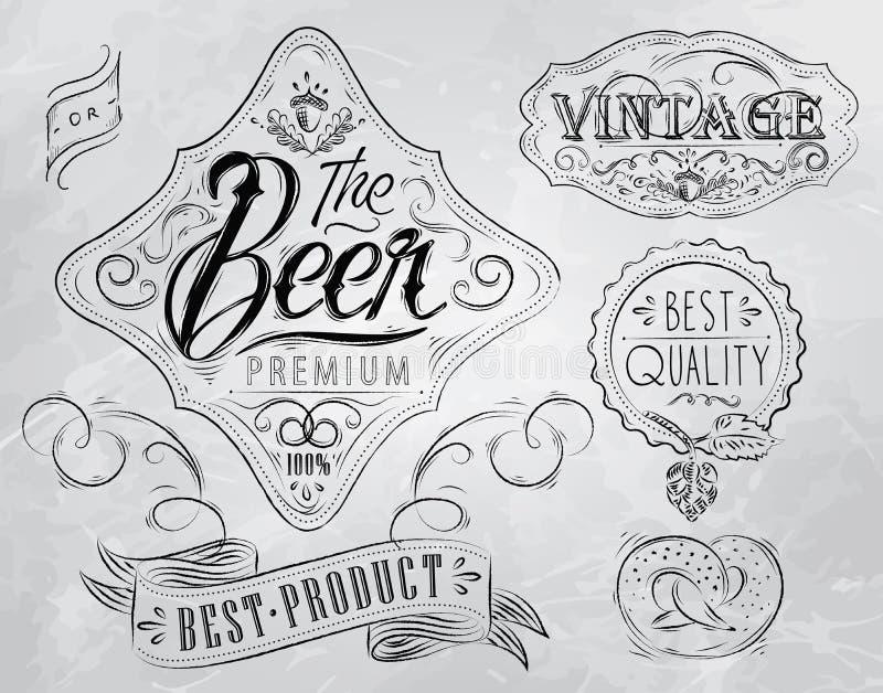 Bier uitstekende elementen. Steenkool. vector illustratie