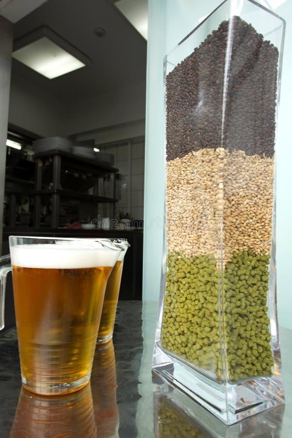 Bier und Bestandteile lizenzfreies stockbild