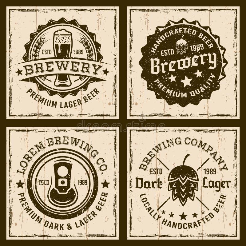 Bier und Brauerei vier färbten Embleme oder Ausweise lizenzfreie abbildung
