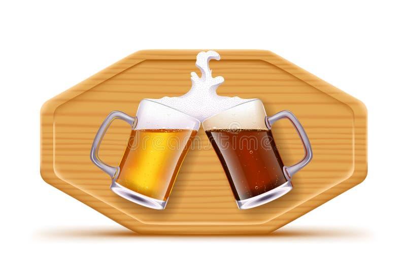 Bier und Brett stock abbildung