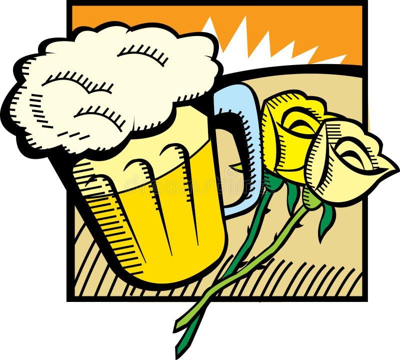 Bier und Rosen lizenzfreie abbildung