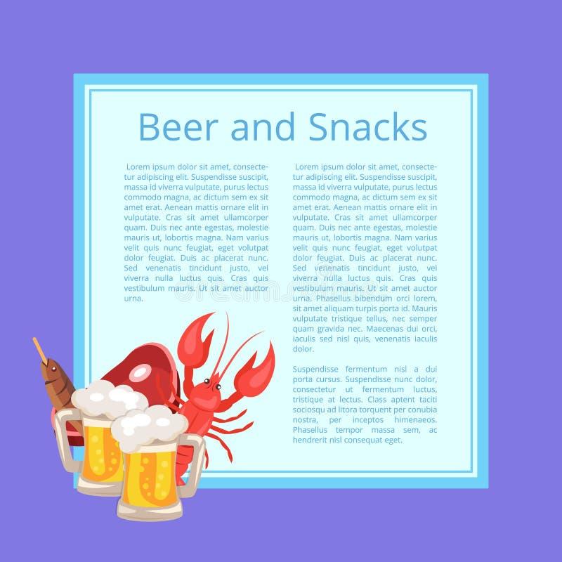 Bier und Snack-Plakat mit geschmackvoller Erfrischung lizenzfreie abbildung