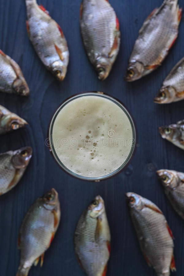 Bier und Trockenfisch Russischer Snack stockbilder