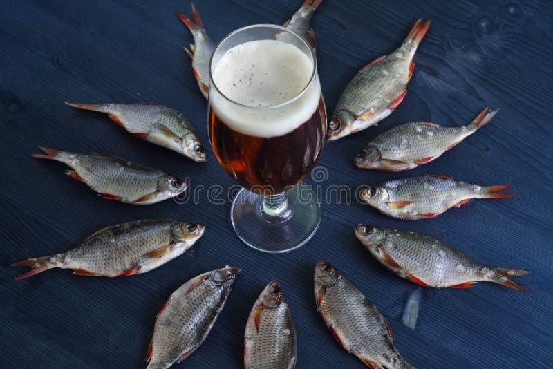 Bier und Trockenfisch Russischer Snack lizenzfreie stockbilder