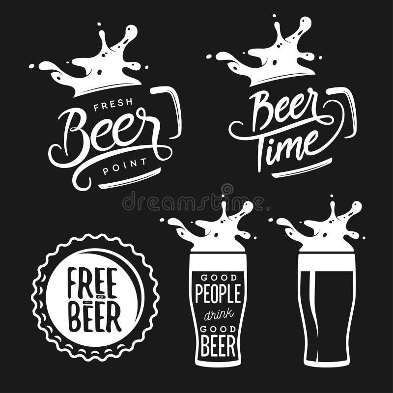 Bier verwante typografiereeks Vectorwijnoogst stock illustratie