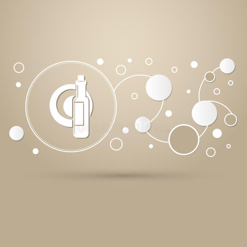 Bier, wijnfles op een bruine achtergrond met elegante stijl en modern infographic ontwerp vector illustratie