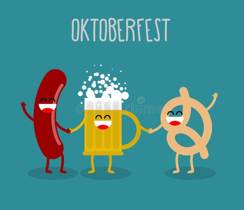 Bier, worst en pretzelvrienden Het Voedsel van Oktoberfest Vakantie binnen vector illustratie