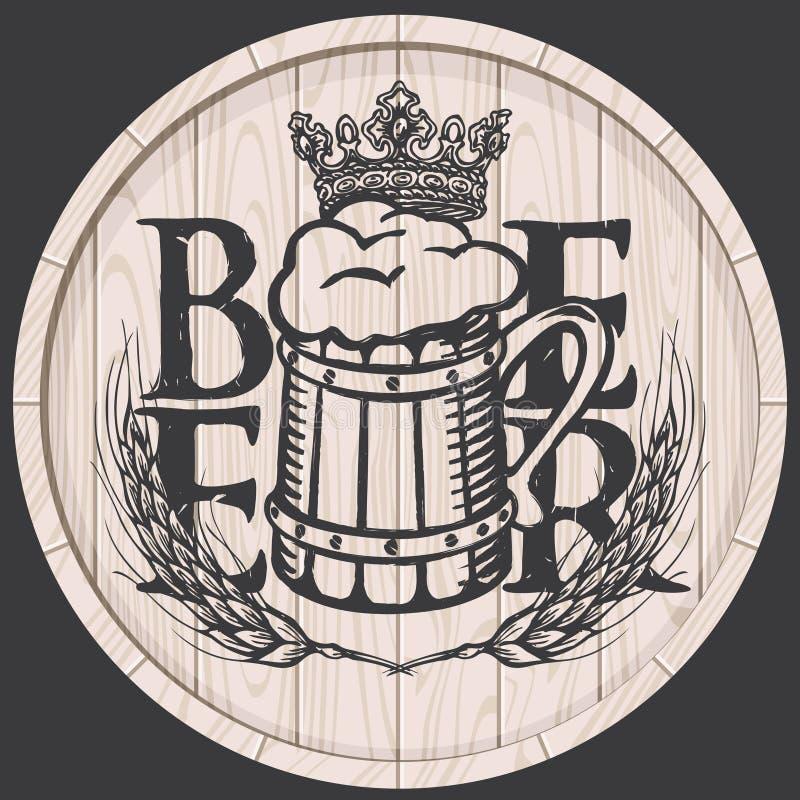 Bieraufkleber auf hölzerner Tonne mit dem vollen Bierkrug stock abbildung
