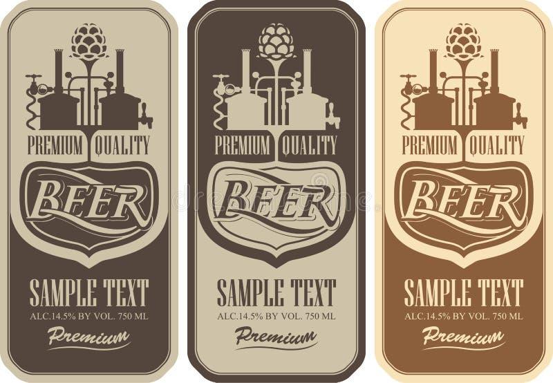 Bieraufkleber mit der Brauerei vektor abbildung
