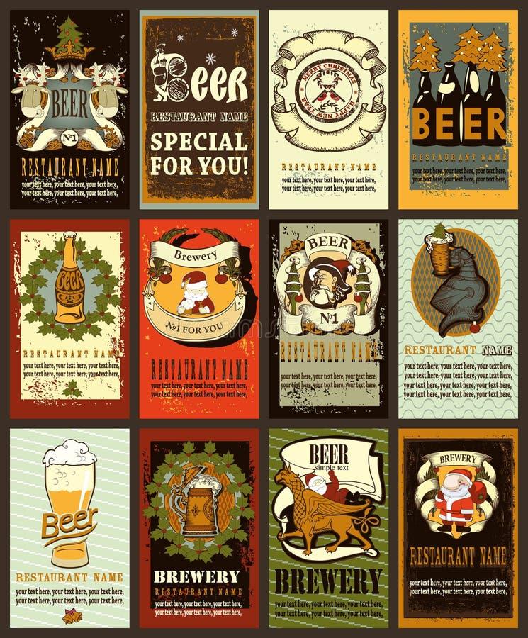 Bieraufkleberdesign für Winter holideys stock abbildung
