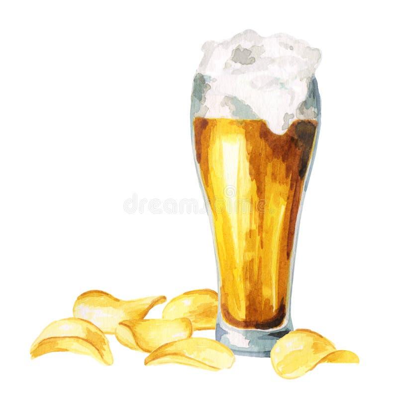 Biere und Chips watercolor stock abbildung