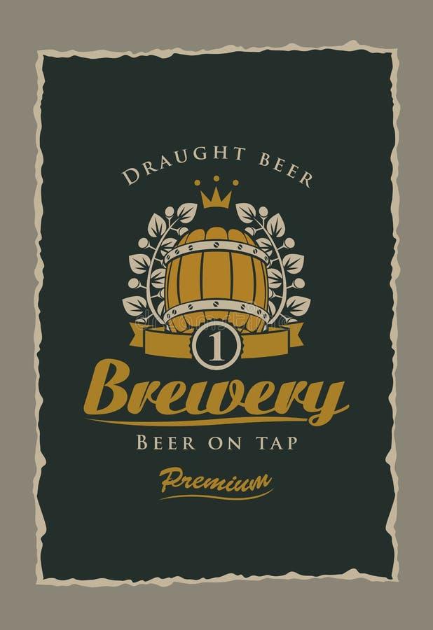 Bieretiket aan de brouwerij stock illustratie