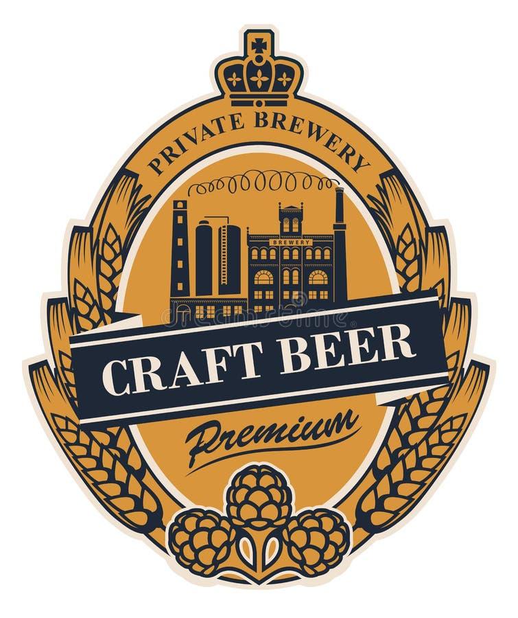 Bieretiket met de brouwerijbouw en oren van tarwe vector illustratie