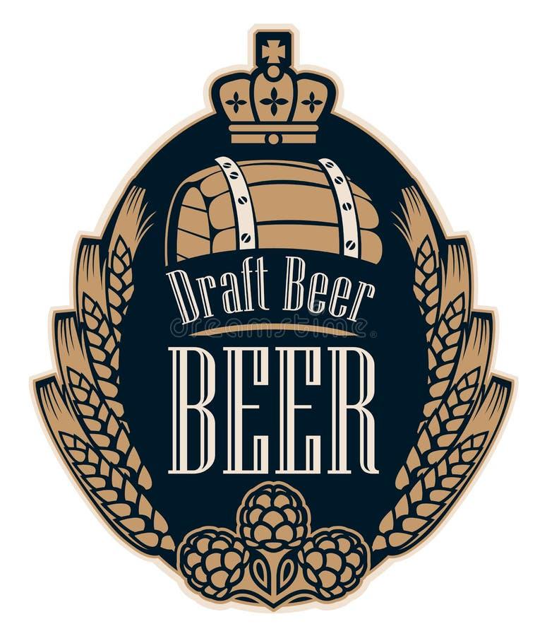 Bieretiket met tarweoren, hop, vat en kroon stock illustratie