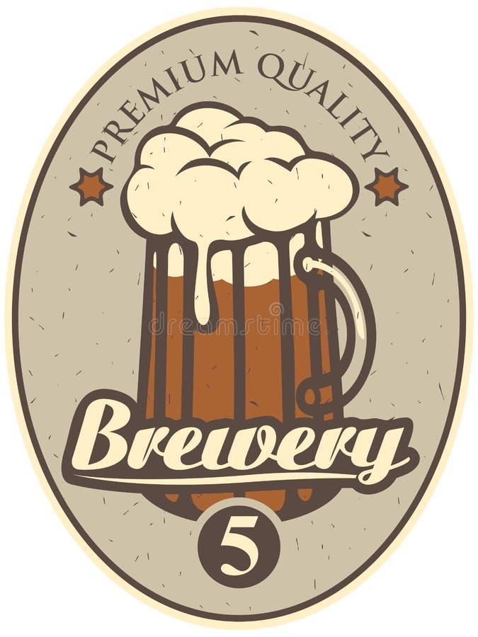Bieretiket voor brouwerij stock illustratie