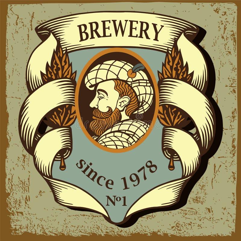 Bieretiket voor brouwerij met de beeldverhaalmens stock illustratie