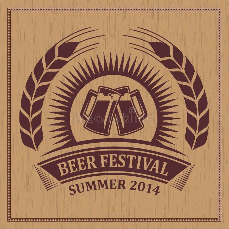 Bierfestival-Ikonensymbol der Weinlese Retro- - vector Design stock abbildung