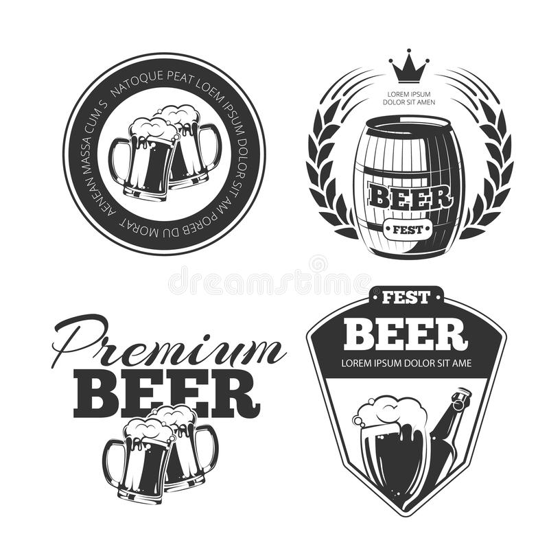 Bierfestivalvektor versinnbildlicht, Aufkleber, Ausweise, die eingestellten Logos lizenzfreie abbildung
