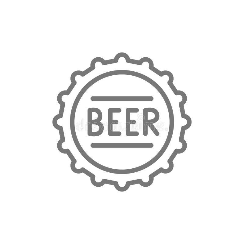 Bierflasche-Kappenlinie Ikone stock abbildung