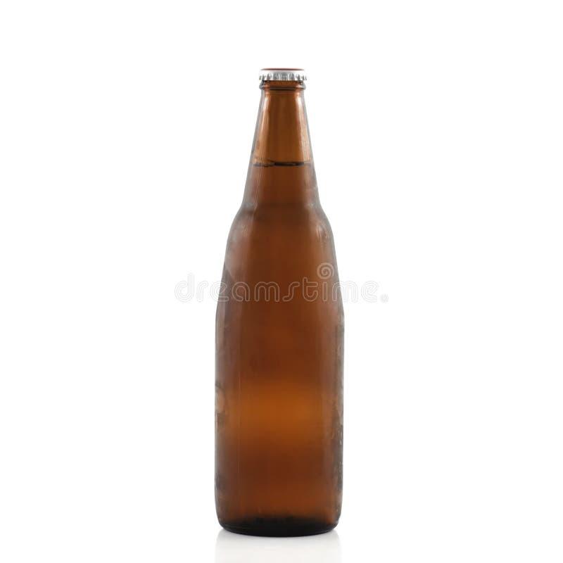 Bierflasche lokalisiert auf weißem Hintergrund mit Beschneidungspfad stockbilder