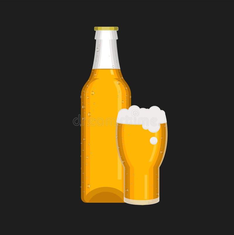 Download Bierflasche- Und Bierglaskarikaturvektor Vektor Abbildung - Illustration von schaumgummi, leuchte: 96932502