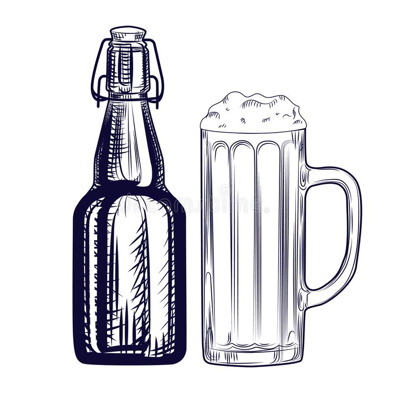 Bierflasche und Bierkrug Stichart vektor abbildung