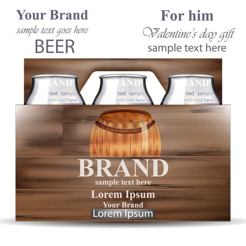 Bierflaschen in der Holzkiste Realistische Illustration Produktverpackungsmarke Vektors vektor abbildung