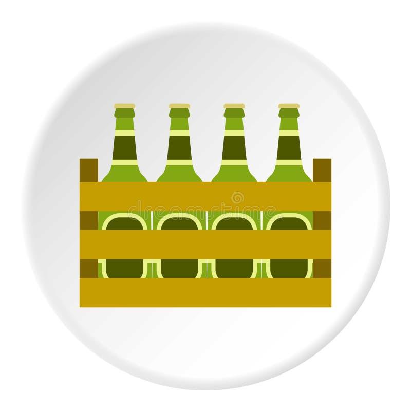 Bierflaschen in der Holzkisteikone, flache Art lizenzfreie abbildung