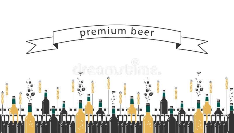 Bierflaschen, Hopfen und Weizen vektor abbildung