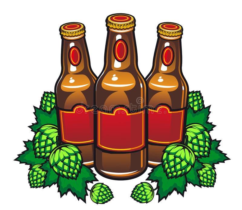 Bierflaschen und Hopfen lizenzfreie abbildung